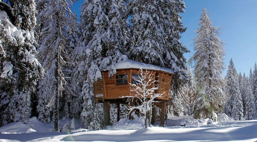 Case in legno sugli alberi valcellina il villaggio for Case in legno sugli alberi