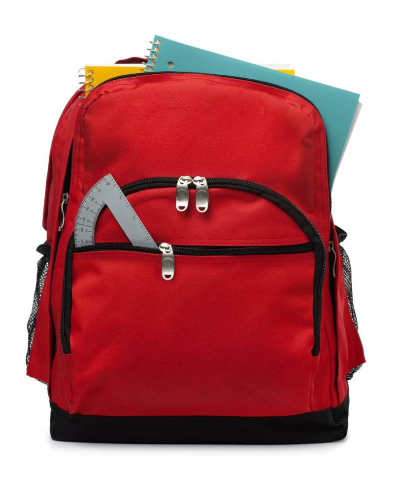 2f7eb8251c This is a photo of a red backpack with school supplies isolated on a white  background