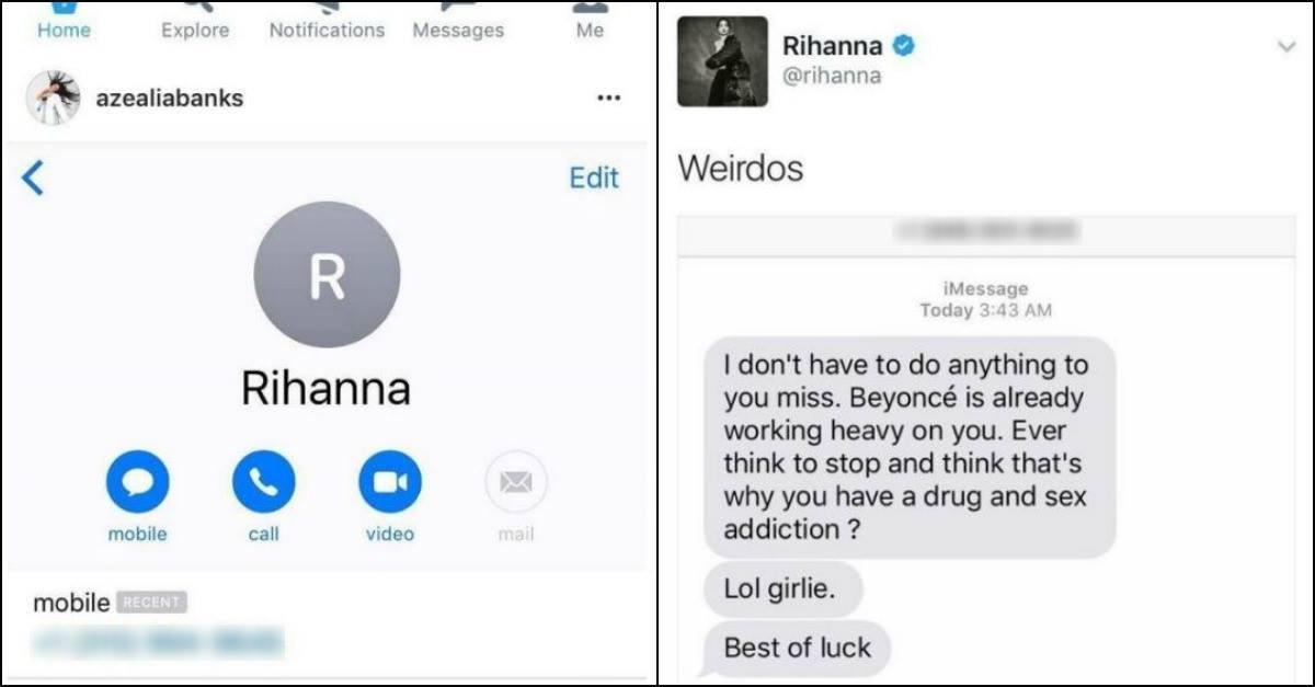 Rihanna vs azealia banks insulti sui social e il numero di rihanna finisce sul web radio deejay - Numero di telefono piscina ortacesus ...
