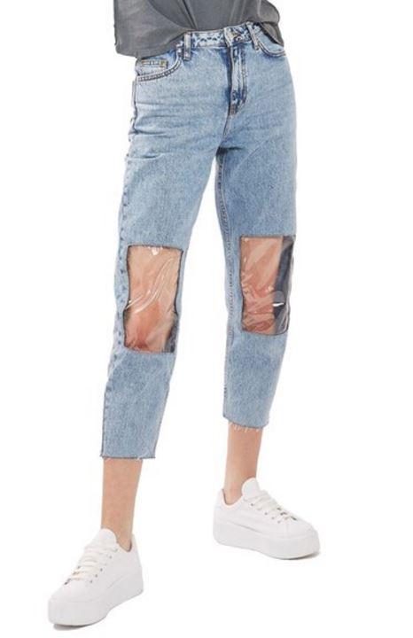 TrasparenteI Un Con Le Ginocchia AcquarioRadio Toppa Jeans In Qrdhst