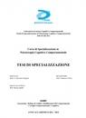 Tesi di Specializzazione in Psicoterapia Cognitivo...