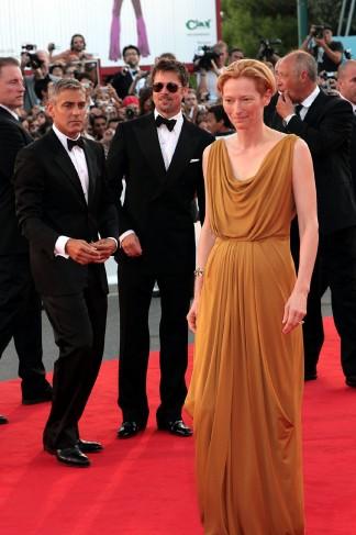 Clooney a Venezia con Brad Pitt e Tilda Swinton nel 2008