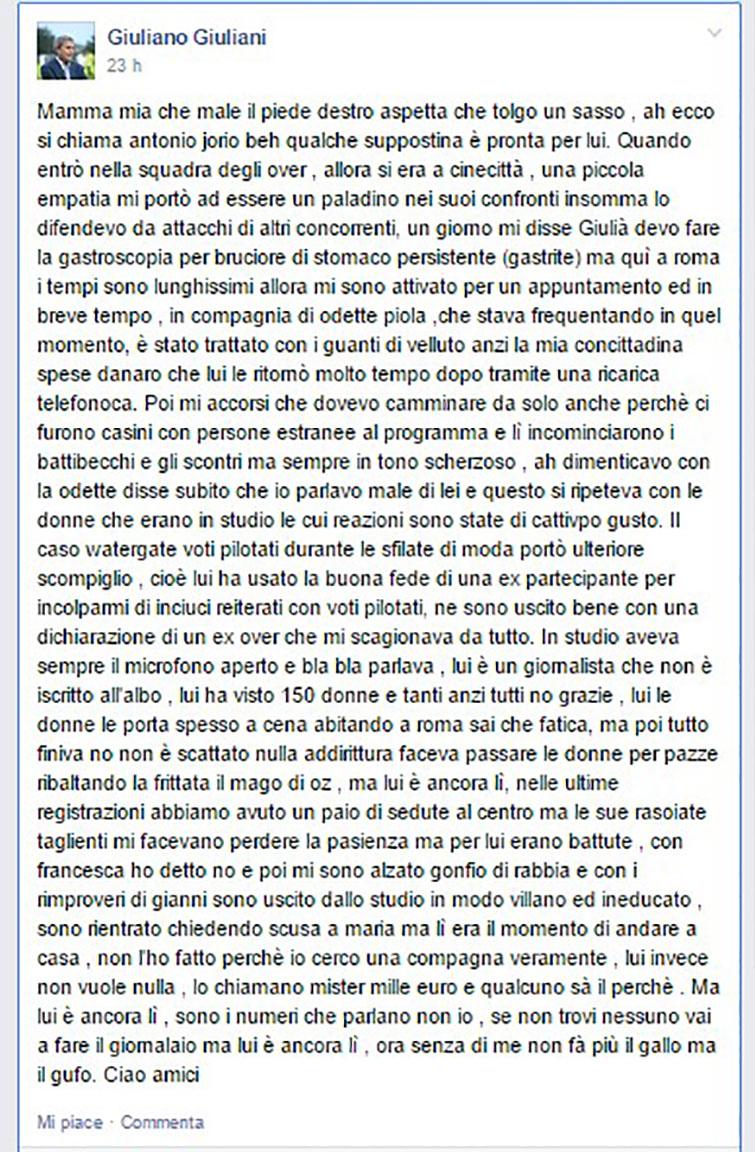 Uomini e Donne Giuliano Giuliani pst Facebook su Antonio Jorio