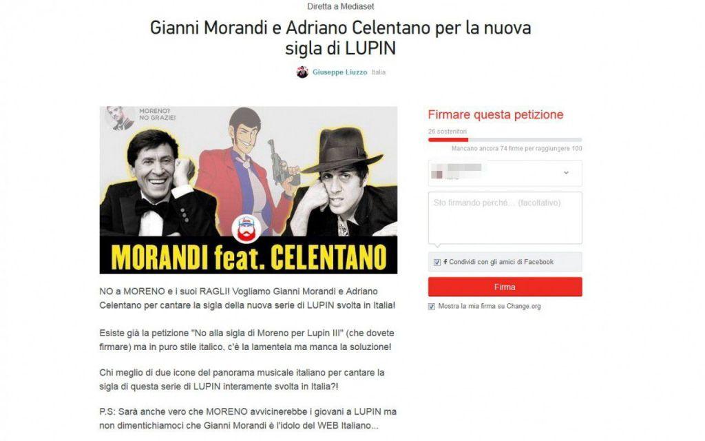 Moreno canta la sigla di lupin iii proteste in rete tvzap