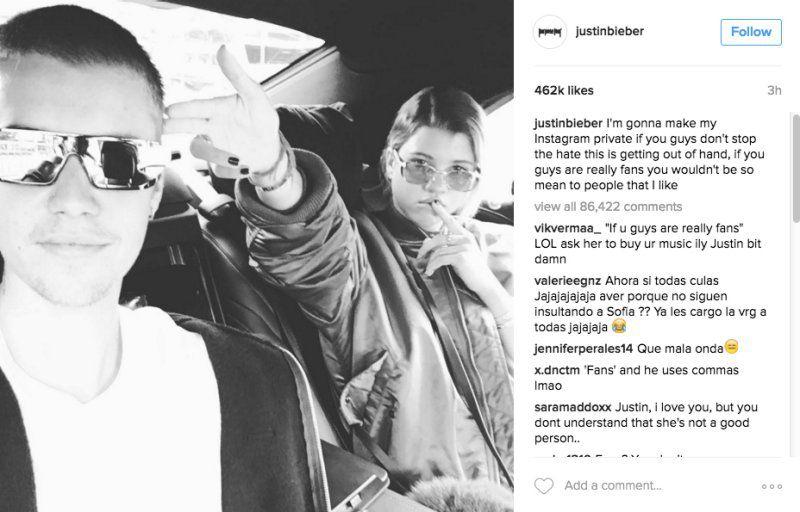 Justin Bieber contro Selena Gomez e i follower di Instagram