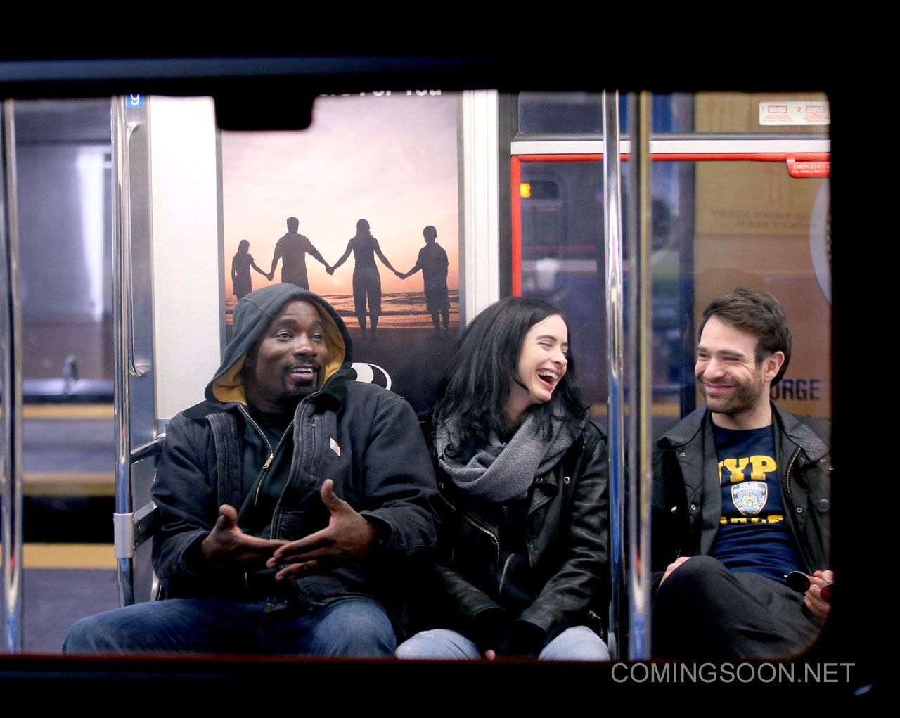 "NEW YORK, NY - FEBRUARY 10: Mike Colter, Krysten Ritter, Charlie Cox filming Marvel's ""The Defenders"" on February 10, 2017 in New York City. (Photo by Steve Sands/GC Images)"