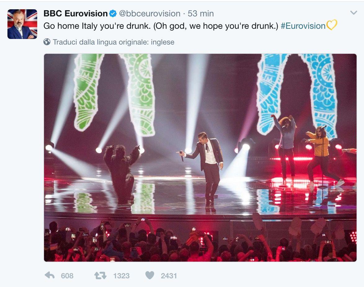 Il tweet della delegazione ufficiale della Gran Bretagna all'Eurovision 2017 che ha scatenato le polemiche