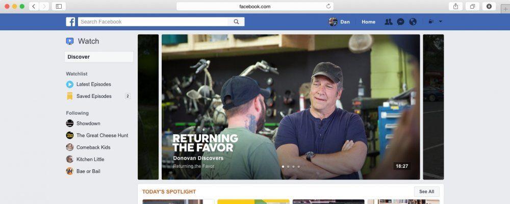 Facebook apre agli show televisivi con la piattaforma Watch