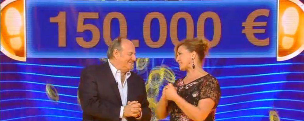 Caduta libera, vincita record da 150000 euro nello show di Gerry Scotti