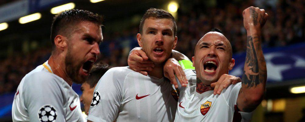 Ascolti tv, oltre 7,6 milioni di telespettatori per l'impresa della Roma contro il Barcellona