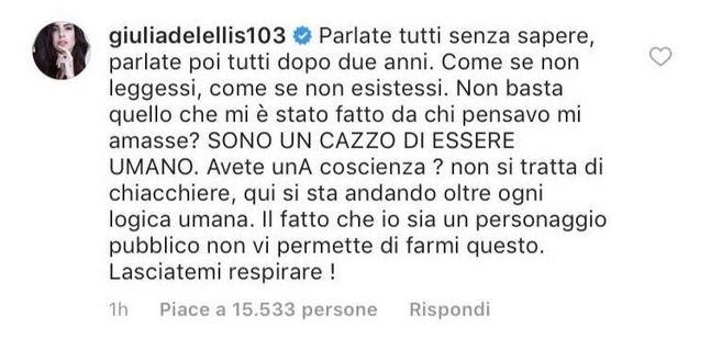 Giulia De Lellis sulla rottura con Andrea Damante |  'Lasciatemi respirare'