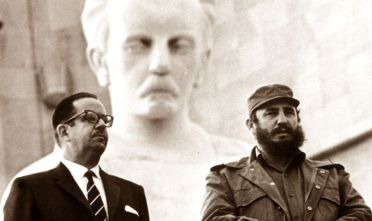 1st February 1967:  Cuban Prime Minister Fidel Castro with Osvaldo Dorticos Torrado the president of the Rebublic, and member of the communist Politburo, at the eighth anniverary of the Cuban Revolution. The statue is Jose Marti, cuban writer, patriot and martyr.  (Photo by Keystone/Getty Images)