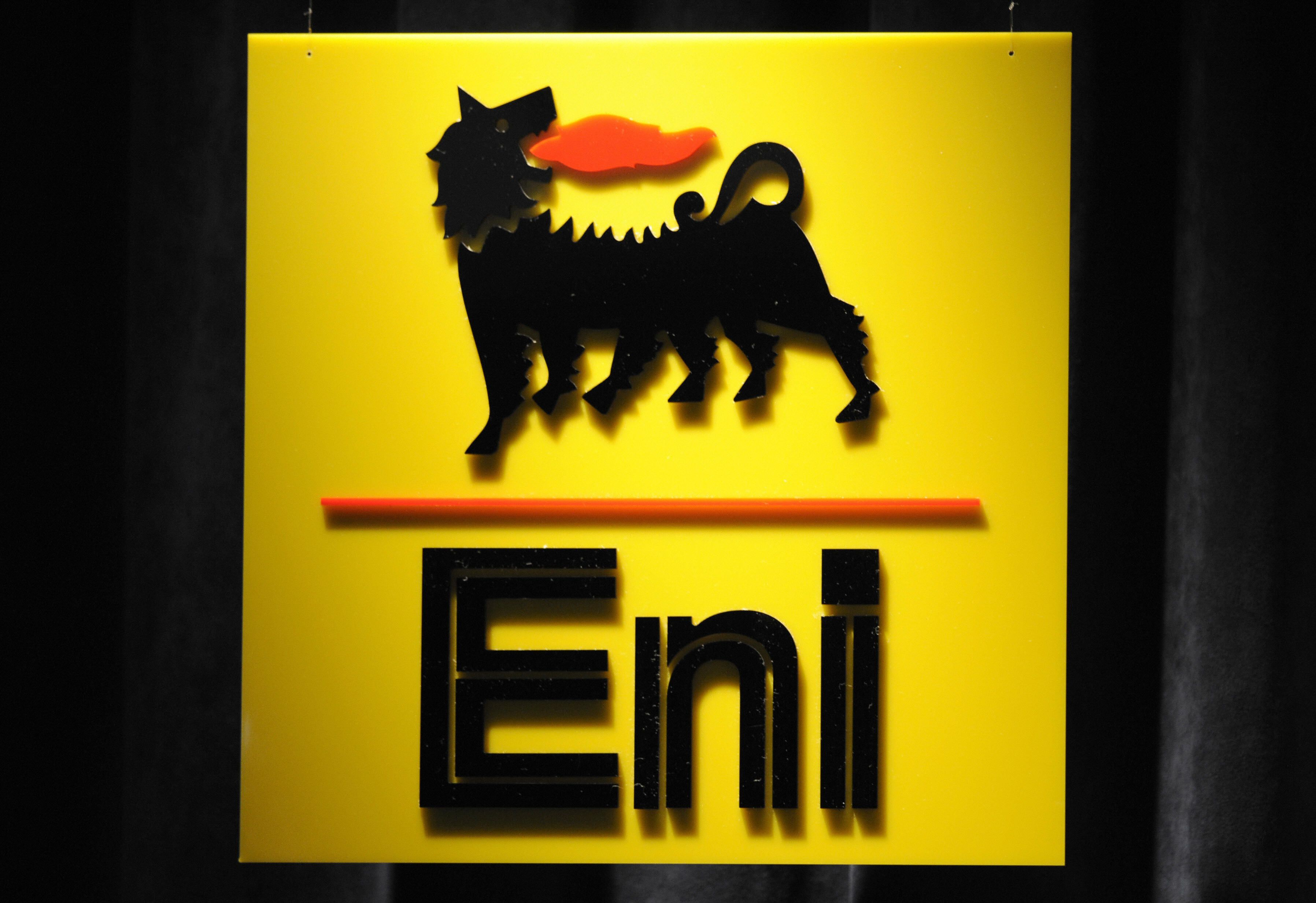 Italian energy giant ENI logo is pictured  during the presentation of results and strategy press conference at ENI's headquarters in Milan, on February 15, 2008. Enel reported today that its 2007 adjusted net profit fell 9.0 percent to 9.47 billion euros (13.82 billion dollars) as a strong euro and higher costs more than offset rising oil prices. AFP PHOTO DAMIEN MEYER (Photo credit should read DAMIEN MEYER/AFP/Getty Images)