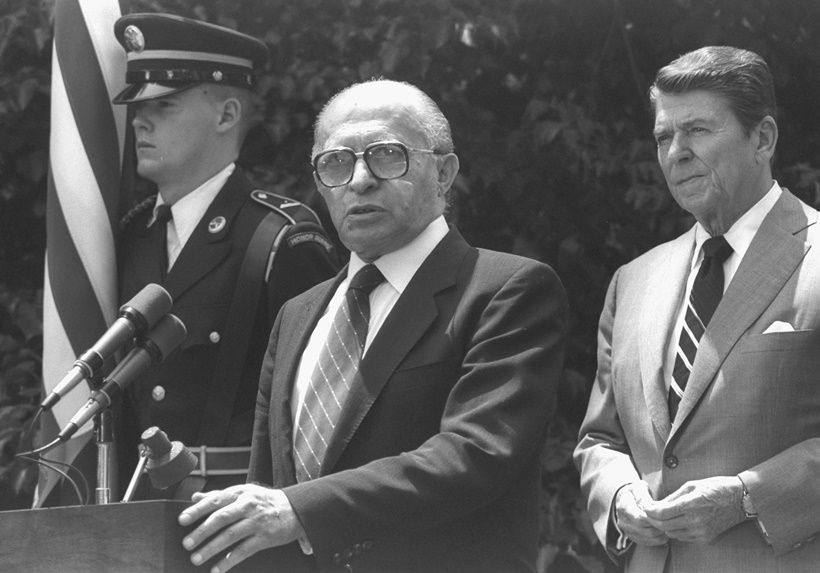 WASHINGTON, DC: (FILE PHOTO) US President Ronald Reagan (R) and Israeli Prime Minister Menahem Begin address the press in the White House gardens June 21, 1982 in Washington, DC. Reagan, the nation's longest living president, battled Alzheimer's disease for the past decade and passed away age 93, June 5, 2004 at his home in Bel Air, California. (Photo by Ya'akov Saar/GPO via Getty Images)