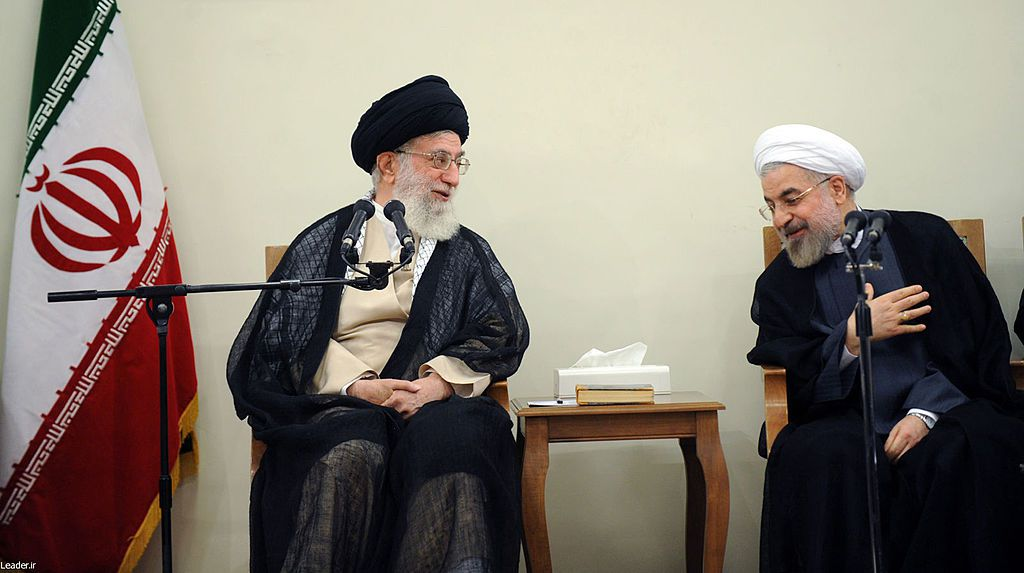 TEHRAN, IRAN - JULY 14:  Supreme Leader of Iran Ali Khamenei (L) meets with president of Iran Hassan Rouhani and cabinet ministeriel about the ongoing Israeli military airstrikes on Gaza in Tahran, Iran on July 14, 2014. (Photo by leader.ir/Anadolu Agency/Getty Images)