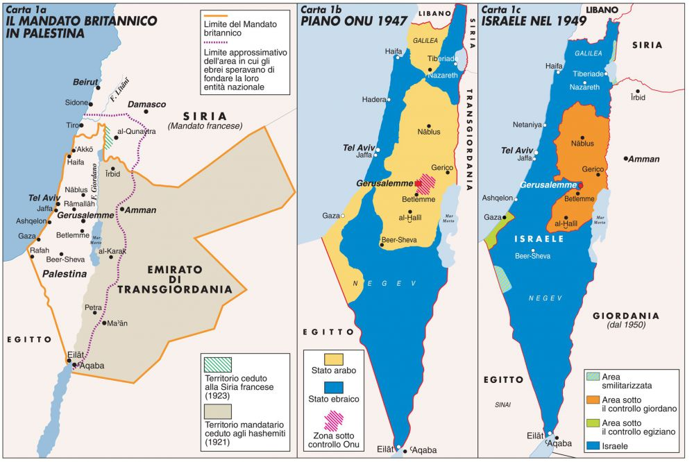 Cartina Geografica Palestina.Dal Mandato Britannico Al 1949 Limes