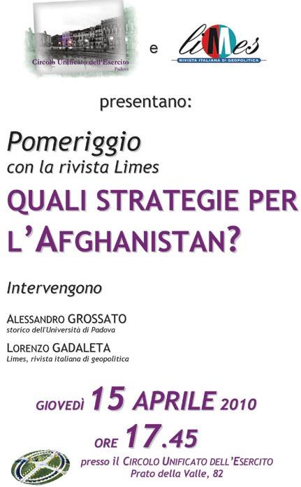 Padova: quali strategie per l'Afghanistan?