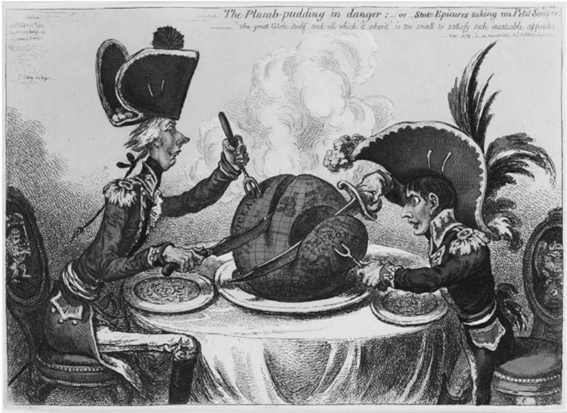Da sinistra: il primo ministro inglese William Pitt e Napoleone Bonaparte. J. G ILLRAY , The Plumb-pudding in danger, 1805