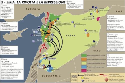L'atlante della rivolta in Siria