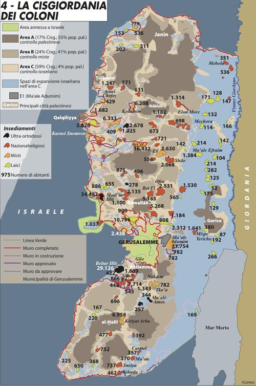 """Tratta da Limes 1/2012 """"Protocollo Iran"""" - Per ingrandire clicca qui.La  carta illustra le diverse aree nelle quali è divisa la  Cisgiordania:  l'area A (sotto controllo palestinese), l'area B (a  controllo misto) e  l'area C (sotto controllo israeliano). Inoltre, in  azzurro vengono  mostrati gli spazi di espansione di Israele nell'area C,  mentre  l'insediamento di Ma'ale Adumin è indicato in grigio.I vari  insediamenti dei coloni israeliani  in Cisgiordania sono suddivisi a  seconda dell'orientamento prevalente:  ultra-ortodossi (in nero);  nazionalreligiosi (in rosso); misti (in  arancione) e laici (in verde).Nella  carta vengono poi segnalate la linea verde,  la municipalità di  Gerusalemme e il muro di separazione. Quest'ultimo  viene rappresentato  con colori e tratteggi diversi per evidenziare le  parti già completate,  quelle in costruzione e, infine, quelle approvate o  da approvare."""