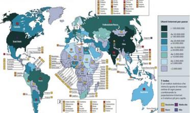 """Tratta dal Quaderno Speciale di Limes """"Media come armi"""" - per ingrandire clicca quiLa carta descrive il potenziale commerciale del web nel mondo.  Ogni Stato è classificato per ampiezza della sua """"popolazione Internet"""" e  per il livello di T-Index.Il T-Index è un indice statistico che stima la quota di mercato online di ogni paese combinando il numero """"nazionale"""" degli utenti con il pil pro capite. I mercati migliori  in cui investire sono Francia, Germania e Regno Unito in Europa; Cina e  Giappone in Asia; Stati Uniti in America. L'Italia è inserita ha un  T-Index medio, nella stessa fascia, tra gli altri, di Australia,  Brasile, India, Messico e Russia."""