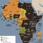 Carta di Laura CanaliLa carta illustra il mantenimento da parte della Francia di interessi neocoloniali anche dopo il dissolvimento del suo impero africano, un sistema chiamato Françafrique.Nella carta vengono mostrati il dislocamento delle forze tricolori, le date dell'intervento (o dell'influenza) francese in crisi interne e i nomi delle missioni militari.Sono in evidenza anche due tra le aziende che hanno (o hanno  avuto) un ruolo cruciale in Africa: Elf (petrolio) e Bolloré (leader dei  porti del Golfo di Guinea).