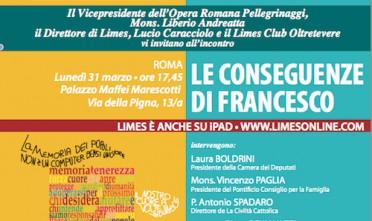 """A Roma, presentazione del volume """"Le conseguenze di Francesco"""""""