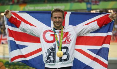 RIO DE JANEIRO, BRAZIL - AUGUST 16:  Jason kenny  of Great Britain poses with his Gold medal from the Men's Keirin at Rio Olympic Velodrome on August 16, 2016 in Rio de Janeiro, Brazil. (Photo by Ian MacNicol/Getty Images)