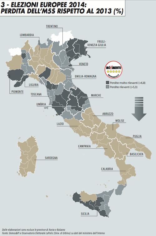 Elezioni europee 2014: perdita dell'M5S rispetto al 2013