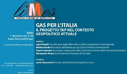 A Bari, Limes e Tap presentano 'Gas per l'Italia'