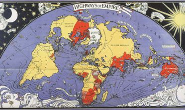 Highways of Empire, litografia a colori di Macdonald Gill per l'Empire Marketing Board, London 1927