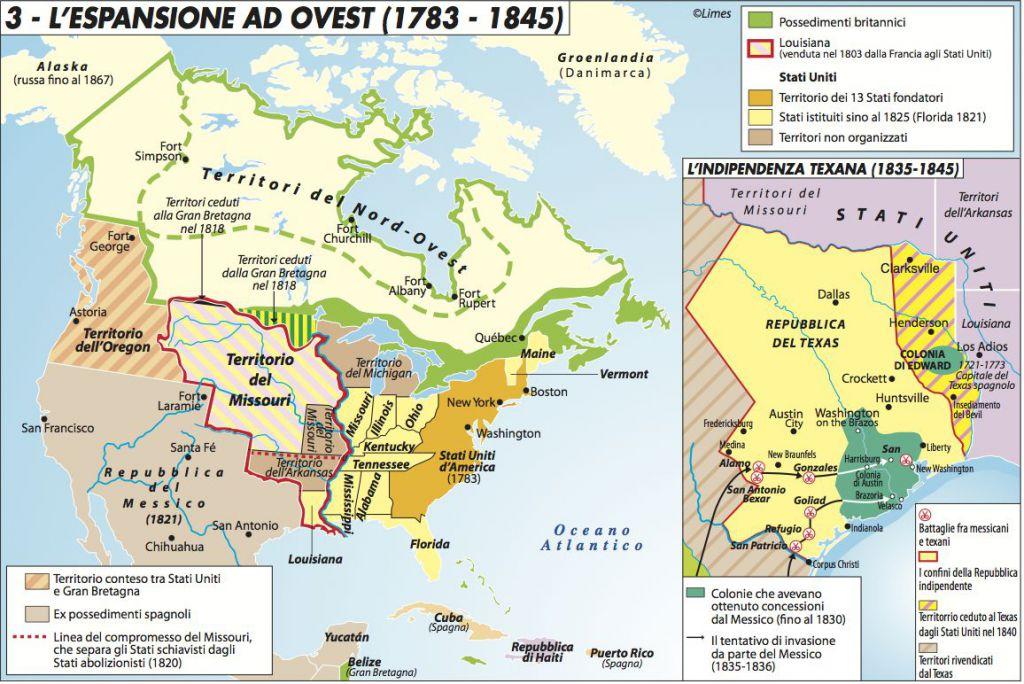 L espansione ad ovest degli usa 1783 1845 limes for Parlamentari numero