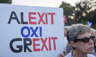 "Sign with writing ""Alexit - not Grexit"""