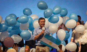 22 Nov 2015, Buenos Aires, Argentina --- Buenos Aires, Argentina. 22nd November 2015 -- Mauricio Macri speaks after his victory on the national elections. -- Mauricio Macri wins the national elections to become the new President of Argentina. The conservative candidate, Mauricio Macri, from the right wing front Cambiemos wins the national elections against Daniel Scioli, the favourite candidate. --- Image by © Javier Gallardo/Demotix/Corbis