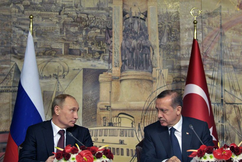 04 Dec 2012, Turkey --- ITAR-TASS: ISTANBUL, TURKEY. DECEMBER 3, 2012. Russia's president Vladimir Putin and Turkey's president Recep Tayyip Erdogan (L-R front) give a press conference after a meeting of the Russian Turkish Partnership Council. (Photo ITAR-TASS / Alexei Nikolsky) --- Image by © Nikolsky Alexei/ITAR-TASS Photo/Corbis
