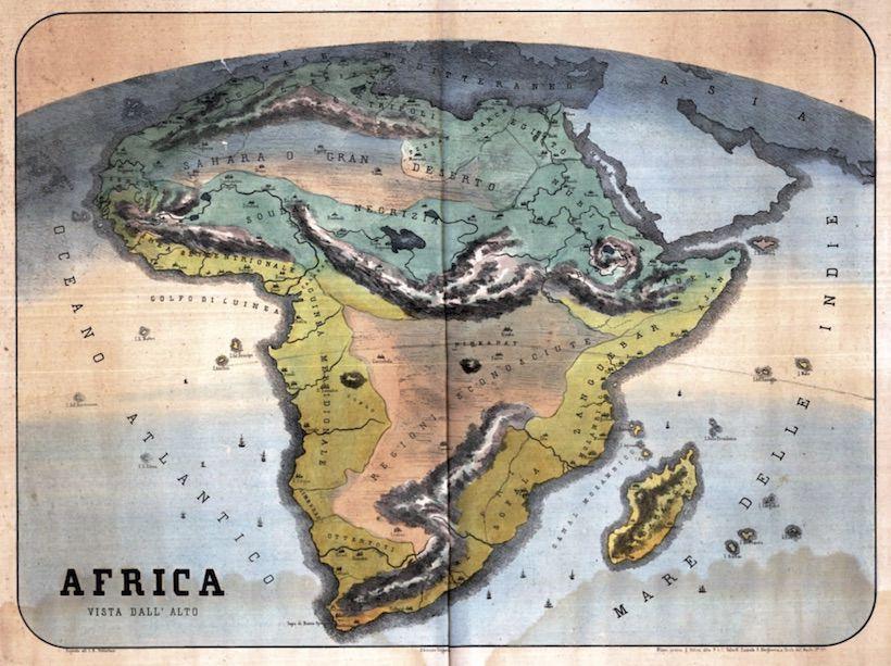 carta tratta da Africa vista dall'alto (1845)