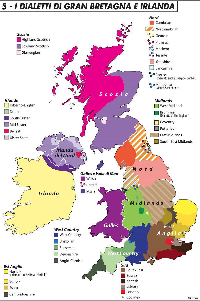 Gran Bretagna Cartina.I Dialetti Di Gran Bretagna E Irlanda Limes