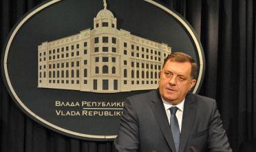 BELGRADE, SERBIA - APRIL 29 :   The president of Republika Srpska entity in Bosnia and Herzegovina, Milorad Dodik   and Serbian President Tomislav Nikolic (not seen) attend a press conference after a meeting on the police station attack in Belgrade, Serbia on April 29, 2015. Policeman Dragan Djuric was killed by a gunman at a police station in Zvornik. (Photo by Medin Halilovic/Anadolu Agency/Getty Images)
