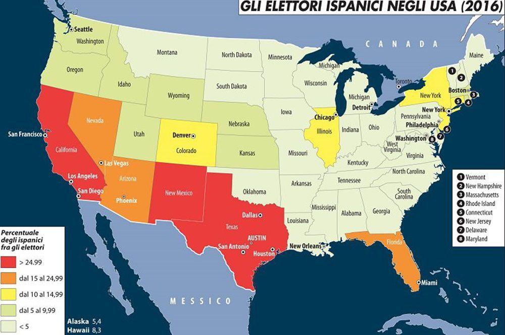 Boston Cartina Stati Uniti.Gli Stati Uniti Divisi Dai Latinos Limes
