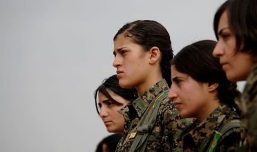 Eastern Syria - Hasakah 12 October 2014 YPJ Kurdish fighters in a recruitment ceremony before being transfered to frontline to fight ISIS in Al Hasaka area in Rojava Kurdish control zone