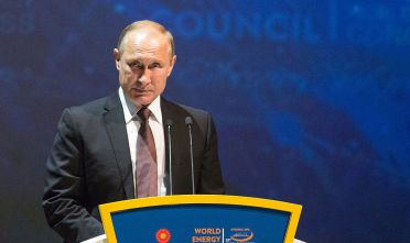 Vladimir Putin, Russia's president, pauses during the 23rd World Energy Congress in Istanbul, Turkey, on Monday, Oct. 10, 2016. The oil-price could recover to $60 a barrel by the end of 2016, said Al-Falih, just weeks after agreeing to cut supply for the first time in eight years. Photographer: Kerem Uzel/Bloomberg via Getty Images