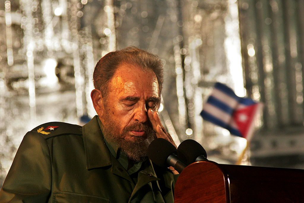 HOLGUIN, CUBA - JULY 26:  Fidel Castro speaks during a political rally  July 26, 2006 in Holguin, Cuba on the day when Cuba celebrates the anniversary of Castro's attack on the Monacada barracks in 1953.  (Photo by Sven Creutzmann/Mambo Photography/Getty Images)