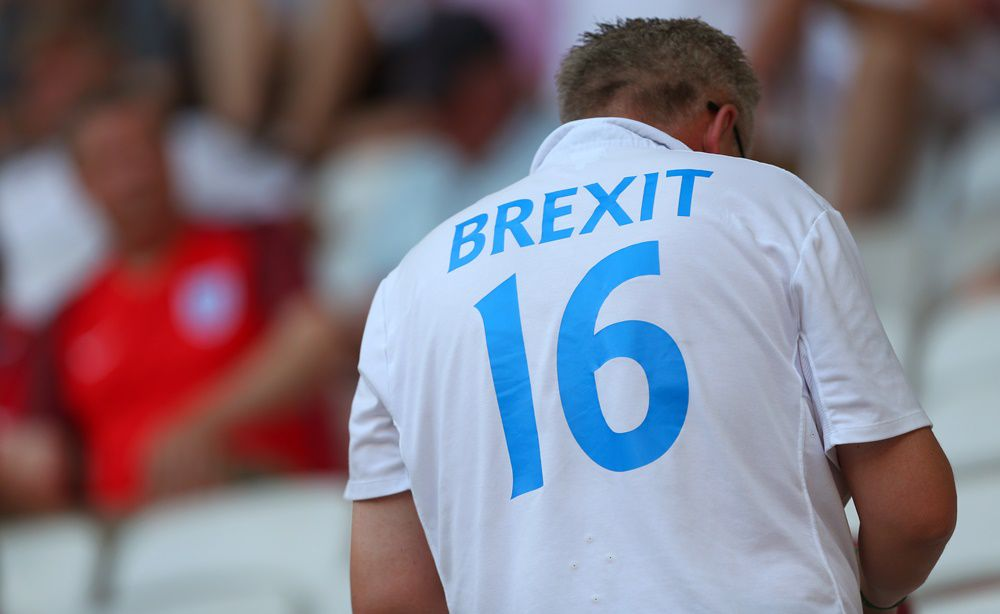 NICE, FRANCE - JUNE 27: An England fan wearing a shirt saying Brexit before the UEFA EURO 2016 Round of 16 match between England and Iceland at Allianz Riviera Stadium on June 27, 2016 in Nice, France. (Photo by Catherine Ivill - AMA/Getty Images)