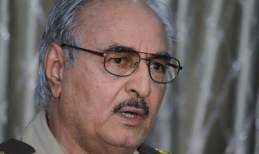 BENGHAZI, LIBYA - MAY 17 :  Retired General Khalifa Haftar speaks during a press conference in Benghazi, Libya on May 17, 2014. (Photo by Mohammed Elshaiky/Anadolu Agency/Getty Images)