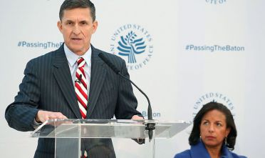 WASHINGTON, DC - JANUARY 10:  White House National Security Adviser Susan Rice, listens to incoming White House National Security Advisor Gen. Michael Flynn, speak at the 2017 Passing The Baton conference at the United States Institute of Peace, on January 10, 2017 in Washington, DC.  (Photo by Mark Wilson/Getty Images)