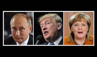 (COMBO)This combination of file photos shows L-R: Russian President Vladimir Putin on October 19, 2016 in Berlin, US President-elect Donald Trump in Sioux City, Iowa on November 6, 2016 and German Chancellor Angela Merkel in Berlin on December 14, 2016. Vladimir Putin was the world's most powerful person for a fourth straight year in 2016, with US president-elect Donald Trump in second place, Forbes magazine said December 14, 2016 in its annual rankings. Third place this year went to German Chancellor Angela Merkel.  / AFP        (Photo credit should read STEPHANE DE SAKUTIN,MANDEL NGAN,ODD ANDERSEN/AFP/Getty Images)