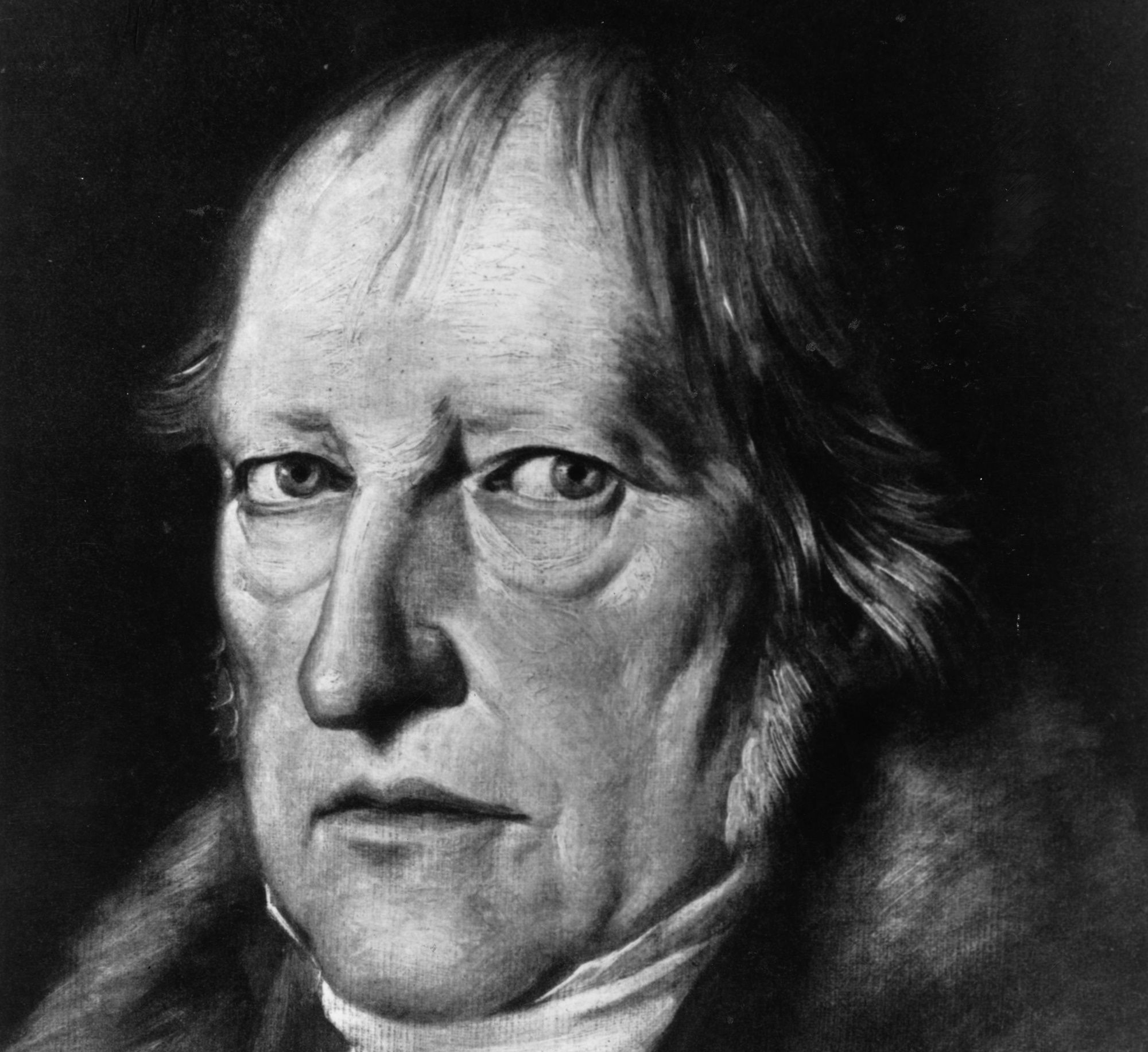 circa 1820:  German philosopher Georg Wilhelm Friedrich Hegel (1770 - 1831). A Professor at Heidelberg (1816 - 1818) and Berlin (1818 - 1831), he differed with Kant in allowing that mankind possessed absolute knowledge. He influenced Karl Marx and the Existentialists. Original Artwork: After Schlesinger.  (Photo by Henry Guttmann/Getty Images)