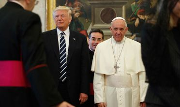 Pope Francis (R) stands with US President Donald Trump during a private audience at the Vatican on May 24, 2017. US President Donald Trump met Pope Francis at the Vatican today in a keenly-anticipated first face-to-face encounter between two world leaders who have clashed repeatedly on several issues. / AFP PHOTO / POOL / Evan Vucci        (Photo credit should read EVAN VUCCI/AFP/Getty Images)