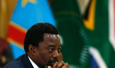 President of the Democratic Republic of Congo Joseph Kabila looks on during a meeting with South African President Jacob Zuma at Sefako Makgatho Presidential Guest House in Pretoria on June 25, 2017. / AFP PHOTO / Phill Magakoe        (Photo credit should read PHILL MAGAKOE/AFP/Getty Images)