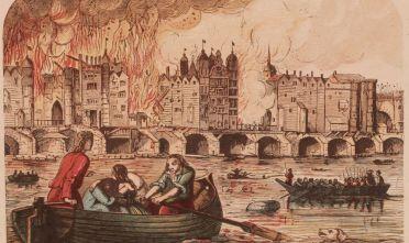 Grande incendio di Londra, settembre 1666, in una rappresentazione della metà del XVIII secolo. (Immagine da: Hulton Archive/Getty Images)